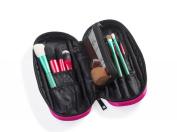 LOUISE MAELYS Small Makeup Brush Hoder Zipper Folio Cosmetic Bag For Travel