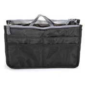 GBSTORE Non-woven fabrics Purse Insert Organiser Expandable Bag with Handle,Black