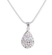 925 sterling silver with diamond teardrop-shaped pendant necklace