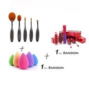 Brushes set, Misaky 5PCS Toothbrush Eyebrow Foundation Eyeliner Lip Oval Brushes+1 PC Sponge Puffs+1 PC Lip gloss
