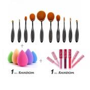 Toothbrush Eyebrow, Misaky Foundation Eyeliner Lip Oval Brushes+1 PC Sponge Puffs+1 PC Lip gloss