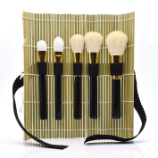 Dolovemk Set of 5, Makeup Brushes Set Foundation Eyeshadow Brushes Goat Hair + Handmade Bamboo Holder Organiser