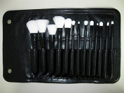 LaiFeiYa -13pcs Black Handle Black Rob Makeup Cosmetics With Black Case Concealer Contour Foundation Eyebrow Brushes Set Kit Tool