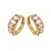 Rose gold plated pierced earring with hollow design