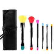 Familybuy Pouch Bag Case Superior Soft Cosmetic Makeup Brush Set Kit Makeover Makeup Core Collection Brush Set, 6 pc