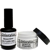 SHEBA NAILS Gelcrylic Gel Powder Combo Kit - UV/LED Soak-Off Nail Gel and Gecrylic Clear Powder