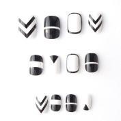 24 pcs 12 Different Sizes Geometric Designed Short Full Round Black and White False Nails Tips