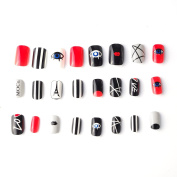 24 pcs 12 Different Sizes Fashion Eye Faerie Short False Nails Full Cute Designed Nail Tips