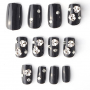 24pcs Noble False Nails with Rhinstones Acrylic Square Black Full Nail Tips