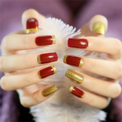 24 sheet Natural False Nail Tips Products Square Head Artificial Nails for Girls with Designs Burgundy and Gold