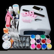 iMeshbean® Professional Full 36W White Cure Lamp Dryer + 12 Colour UV Gel Nail Art Tools Complete DIY Sets Kits USA