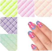 PoshVinyls Vinyl Nail Stencil guides pack A-410 Nail art manicure kit Chevron