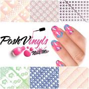 PoshVinyls Vinyl Nail Stencil guides pack A-310 Nail art manicure kit