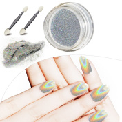 MLMSY Manicure Bright Shinning Magic Mirror Nail Powder Laser Mirror Colourful Plating Mirror Pigment Manicure Chrome Pigments Gradient Colour with 2 Nail Brushes, Rainbow
