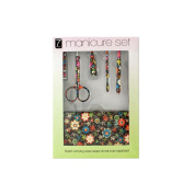 JT Cosmetics Manicure Set with Stylish Floral Carrying Case - 4 Pack