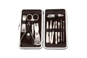 FlyItem® 12PCS High Quality Professional Stainless Steel Nail Pedicure Ear Tool set Travel Case