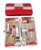 Okbool 12pcs Red Stainless Steel Nail Clipper Care Personal Manicure & Pedicure Set Travel & Grooming Kit