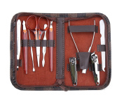 Genda 2Archer Leather Travel Case 10Pcs Nail Care Manicure Set Grooming Kit