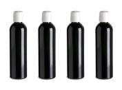 4 Black PET Bottles SlimLine White Caps Attractive, Sleek