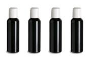 4 Black Slimline Small White Caps