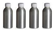 4 Small Brushed Aluminium Bottles 4 oz
