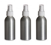 3 Aluminium Bottle with White Atomizer Caps 4 oz