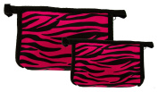 Set of 2 Matching Zebra Travel Cosmetic Bag - Makeup Bag - Toiletry Bag - Lightweight - Pink Colour