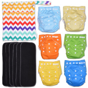 ColorZag 13-Piece Baby Gift Set - Pack of 6 Cloth Nappies, 6 Bamboo Charcoal Inserts and WetDry Bag, Baby Gift All in One Cloth Nappies Set D