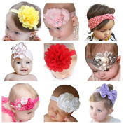 Hip Mall® 9pcs Baby Girl Headbands with Flowers Bows for Newborn