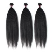 Allove 12 14 41cm Brazilian Virgin Kinky Straight Hair Weave 3Bundles Yaki Human Hair Unprocessed Natural Colour