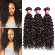 Jolia Hair Unprocessed Brazilian Curly Hair 3 Bundles, 7a Brazilian Virgin Curly Human Hair 3 Bundles 16 18 50cm 3pcs lot , Natural Black Colour Can Be Dyed and Bleached.