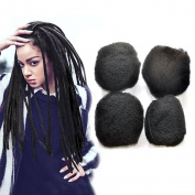 Yonna Hair 4pcs/lot Tight Afro Kinky Bulk Hair 100% Human Hair For DreadLocks,Twist Braids Off Black, #1B,30cm inch