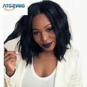 ATOZWIG Wig 7a Brazilian Virgin Human Hair Lace Front Wig Full Lace Wig Glueless Short Bob Wavy with Baby Hair for Black Women 8-70cm 130 Density Natural Colour
