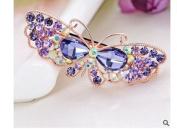 OliaDesign® Crystals Purple Butterfly Hair Clip Bang Headdress Barrette Rhinestones Moon Clamp Hairpins