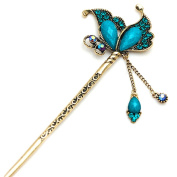 YOY Fashion Long Hair Decor Chinese Traditional Style Women Girls Hair Stick Hairpin Hair Making Accessory with Butterfly,Peacock Blue