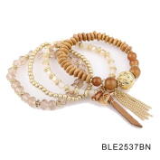 Designer Bohemian Style Crystal Pearls Jewellery Bijoux Fashion Gold Colour Alloy Colourful Enamel Rhinestone Flower Multi Layer Bangles Sets by Elite Trend