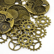 QTMY Antique Bronze 25 Pcs Steampunk Gears Charms Crafts