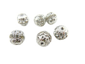 20PCS Crystal Rondelle Ball Shape Spacer Bead 12MM Fire Ball Silver Plated for Jewellery Making & DIY