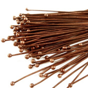 Beadthoven 50pcs Red Copper Plated Brass Ball Headpins, DIY Jewellery Necklace Beading Making, Size