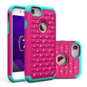 iPhone 7 Plus Case, NOKEA Studded Rhinestone Crystal Bling [Shockproof] Dual Layer 2 in 1 Hybrid [Hard Cover + Soft Silicone] Defender Protective for iPhone 7 Plus (2016 released)