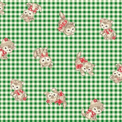 Cat Fabric - Pocket Kitten - Kitten Toss - Green - 100% Cotton - By the Yard