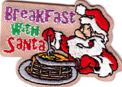 """BREAKFAST WITH SANTA"" - IRON ON EMBROIDERED PATCH - Holidays, Christmas, Food"