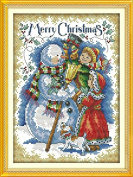 Queenlink 11CT Merry Christmas #6 Cross Stitch Embroidery Diy Sewing Kit