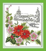 Queenlink 11CT Winter Poinsettias Christmas Cross Stitch Embroidery Diy Sewing Kit