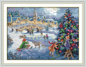 Queenlink 11CT Christmas Celebration Cross Stitch Embroidery Diy Sewing Kit