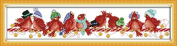 Queenlink 11CT Counted Cross Stitch Christmas Birds Diy Embroidery Kit Sewing