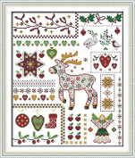 Queenlink 11CT Counted Cross Stitch Santa Elk with Dolls Diy Embroidery Kit Sewing