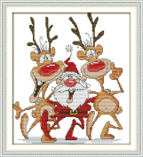 Queenlink 11CT Counted Cross Stitch Santa and the Reindeer Diy Embroidery Kit Sewing