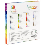 Artlicious - 50 Premium Distinct Coloured Pencils for Adult Colouring Books - Bonus Sharpener - Colour Names on Pencils