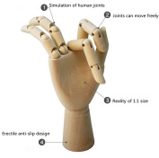 AlphaMY Professional Wood Artist Manikins Art & Craft Supplies Mannequin 30cm Male Hand realistic Wooden Human Hand Figure Model 30cm with Wooden Flexible Fingers for Drawing Sketch Sewing